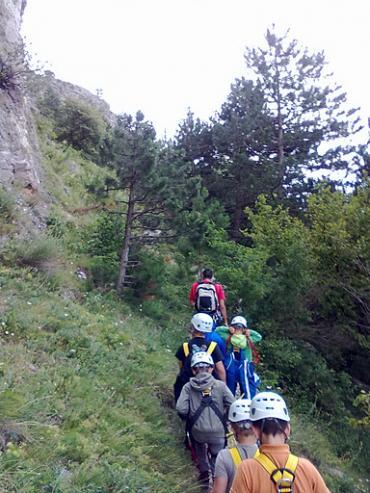 Kinder bei einer Wanderung im Zuge des Outdoortranings